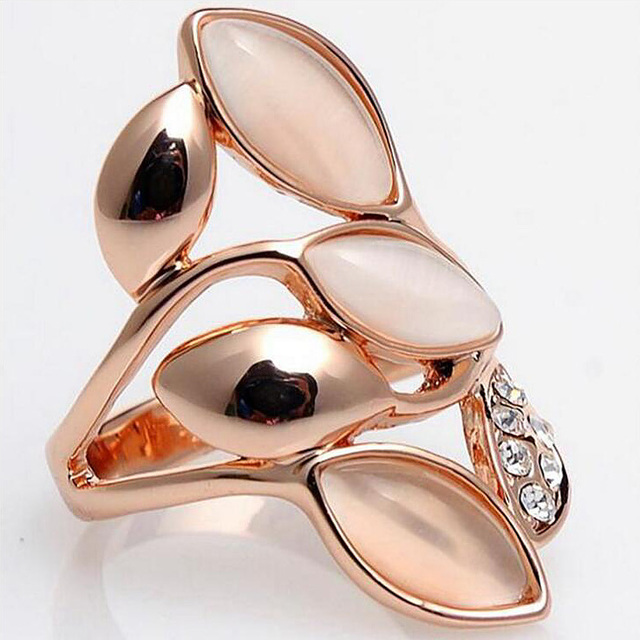 Angel Girl Rose Gold Color Ring Shining Opals Rings For Women Trendy Engagement Wedding Jewelry Anillos