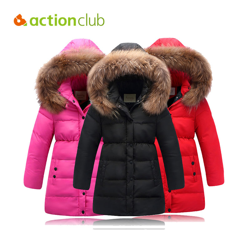 Фотография Actionclub Girls Winter Coat Children Jackets Duck Down Parkas Kids Winter Outerwear Thicken Warm Clothes Baby Girls Clothing