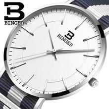 Швейцария BINGER мужчины часы люксовый бренд ультратонкий ограниченным тиражом Водонепроницаемый любителей кварцевые Наручные Часы B-3050M-10