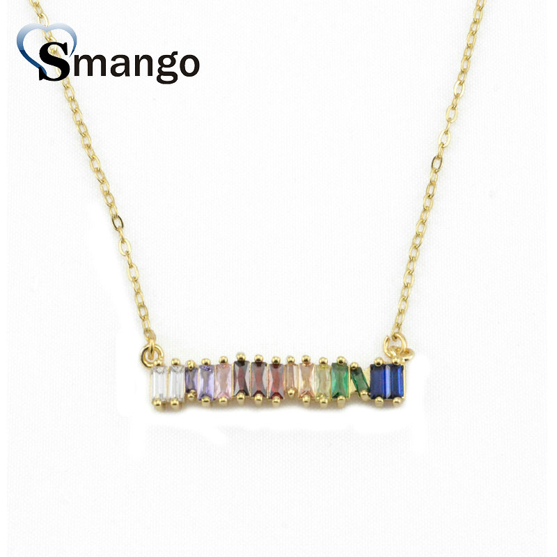 5Pieces The Rainbow Series Women Fashion The Strip Shape Necklace and Pendant 4 Colors Can Wholesale in Chain Necklaces from Jewelry Accessories