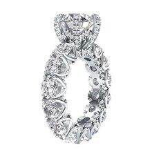 LESF joyería de lujo para mujer, anillos de compromiso de moda de Plata de Ley 925 con piedra de SONA de corte redondo de 4 quilates