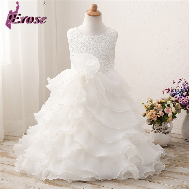 20d35a59c0a White Organza Flower Girl Dress Sleeveless Ball Gown For Children Party  first communion dresses for girls ZCF037
