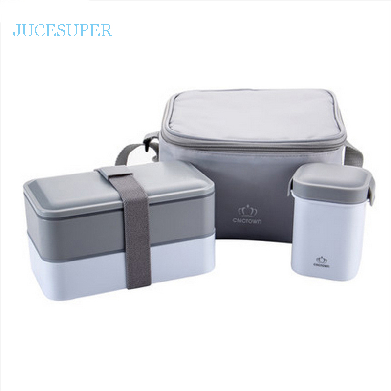 Japan Style Double Layers Seal Sets Portable Collar Ruled Student Microwave Lunch Box Water Bottle Plastic