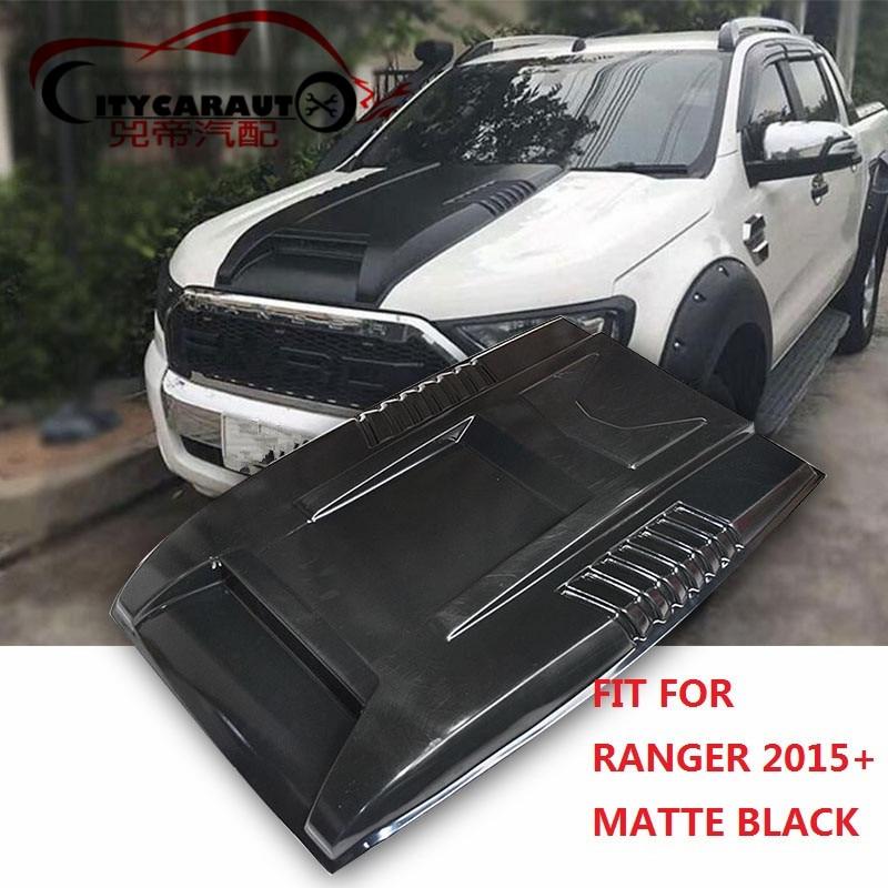 CITYCARAUTO 2015+ Black Bonnet Scoop Hood For Ranger T7 pickup car matte Black Bonnet Hood fit For T7 Endeavour Everest 2016+