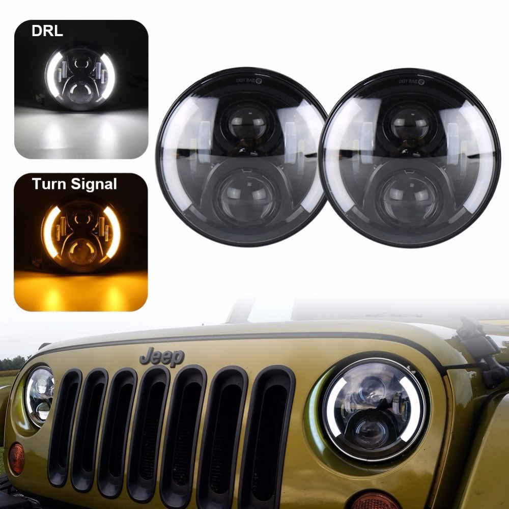 7 Inch Round Led Headlights DRL & Hi/Lo Beam & Amber Turn Light for Jeep Wrangler JK TJ LJ CJ Rubicon Sahara Unlimited Hummer 7 inch round chrome led headlight drl 80w hi low beam for for jeep wrangler jk cj tj lj drl super bright motorcycle