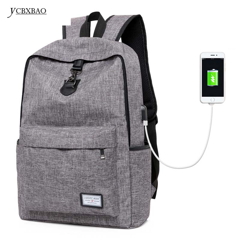 YCBXBAO Unisex Canvas Back pack Men Laptop Business Casual Backpacks USB Charging Backpack Satchel Rucksack;sac a dos homme