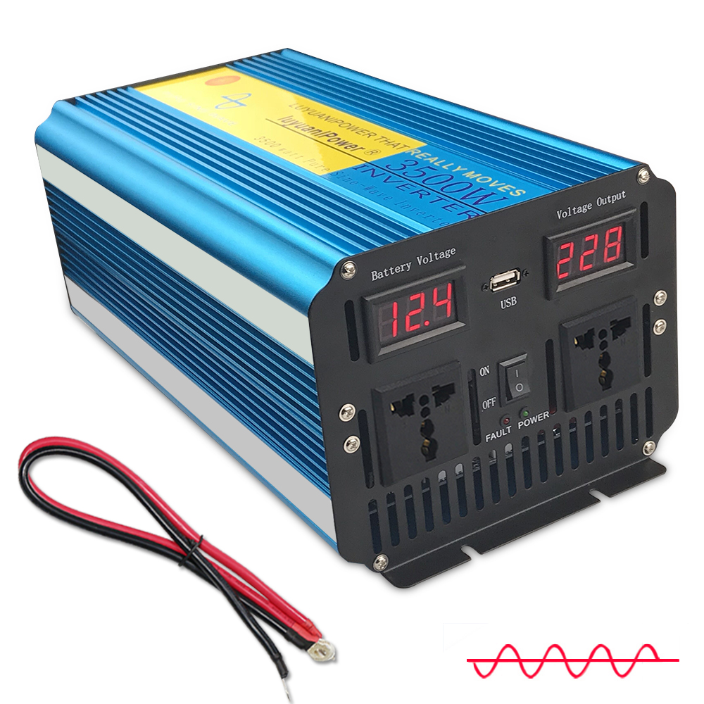 3500W/<font><b>7000W</b></font> <font><b>pure</b></font> <font><b>sine</b></font> <font><b>wave</b></font> <font><b>power</b></font> <font><b>inverter</b></font> transformer DC <font><b>12V</b></font>/24V TO AC 220V/230V/240V with Dual LED Display 3.1A USB image