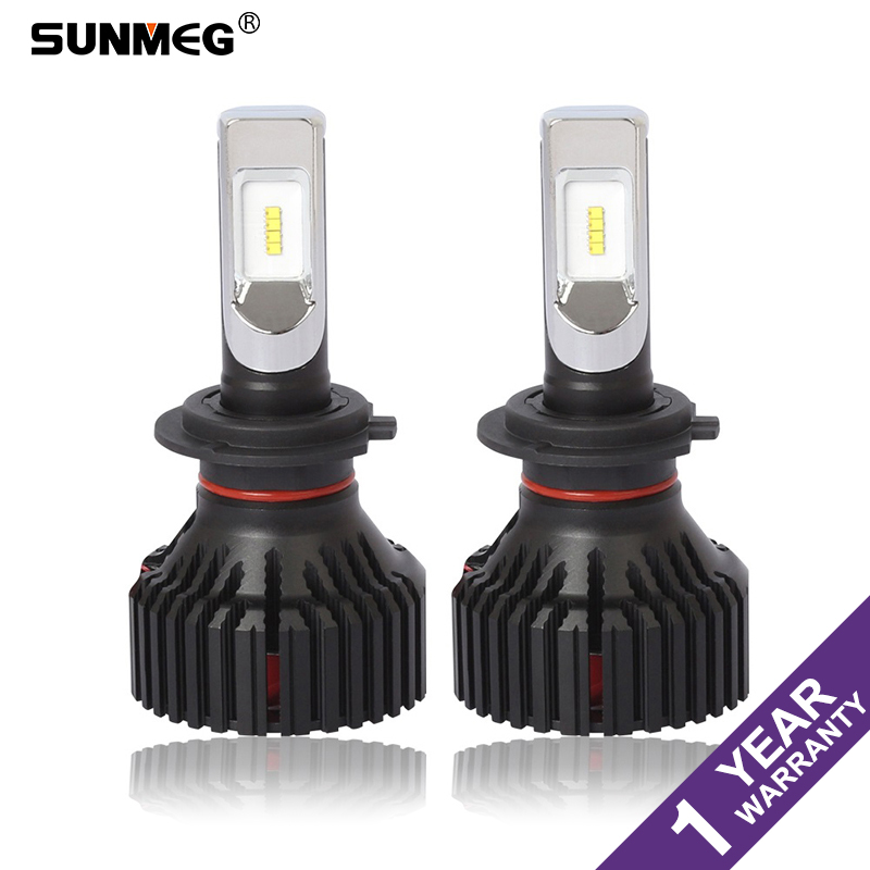 Sunmeg T8 H7 LED Bulb Car Headlight Bulbs ZES Chips H4 H11 9004 9005 High Low Beam LED 8000LM Automobile Headlamp Fog Light