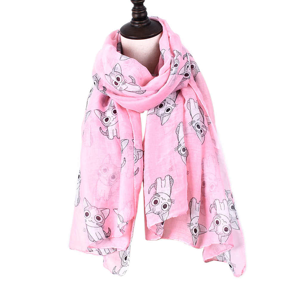 38664149ec0e2 2018 Female Mini Chi's Lovely Home Cat Printed Scarf Cute Carton Figure Chi  Cat Blanket Stole