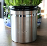 Stainless Steel Tea Coffee Sugar Beans Jar Canister Storage Container Airtight Vacuum Seal Storage Bean Container