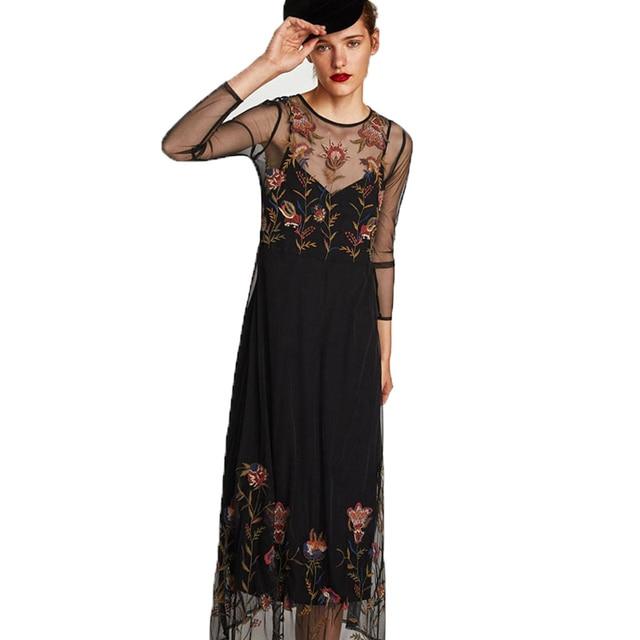 c0d81946ed72b Dress De Fiesta Rushed Limited Full Maxi Dress Plus Size Fairy Beauty  Flower Long Sleeve Gauze Dresses 2019 Quality Kirt