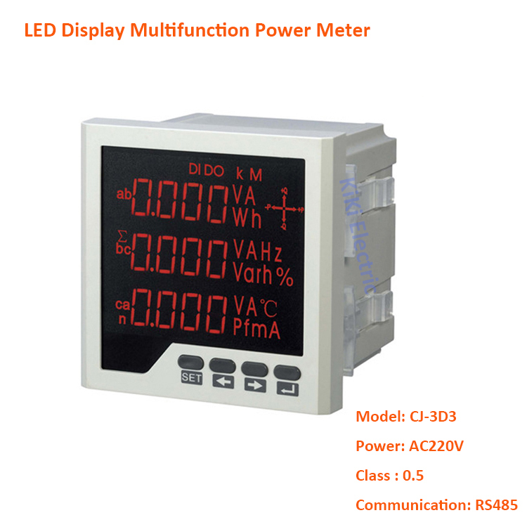 Free Shipping LED Display Three Phase Multifunction Power Meter 220VAC Digital Panel Mount Meter With RS485 Communication