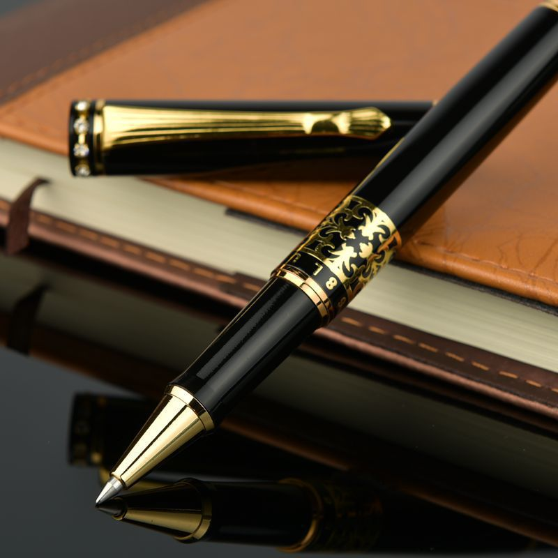 High quality Diamond Head Roller pen Metal black with gold Embossing MB Rollerball pen for Gift + Extra 1 free refill