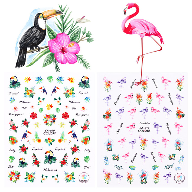 2 sheet flamingo toucan 3d nail sticker tropical flower bird diy nail art adhesive transfer sticker