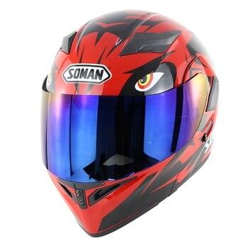 Original SOMAN SM955 Doule Lens motorcycle helmets casco capacetes Motor bike Helmet  (Red eye )