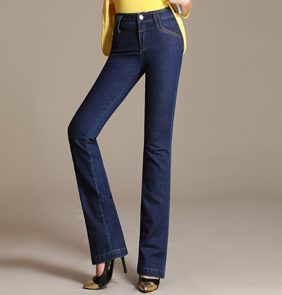 Straight jeans denim casual pants for women plus size spring autumn female trousers high waist full length cotton blend gls0601