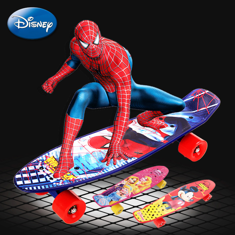 22 Plastic Mini Cruiser Boy Girl skateboard Long Board Banana Retro Skate Longboard Spider-Man Printed Children's scooter 2016 new peny board skateboard complete retro girl boy cruiser mini longboard skate fish long board skate wheel pnny board 22