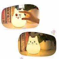 Premium 7 Colors Cat LED USB Children Animal Night Light Silicone Cartoon Baby Lamp Breathing LED