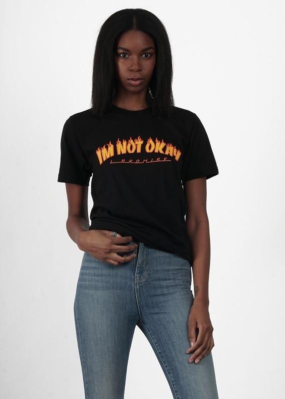 HahayuleUnisex & I Não estou Certo Chama Imprimir T-Shirt Engraçado Estilo Grunge Camiseta Preta Skater Verão Tops