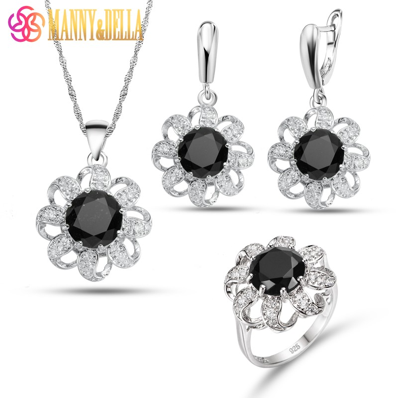 Impressive Trinket Flower Style 925 Sterling Silver Jewelry Sets Black Zircon Earrings Pendant Necklace Ring 5-Color