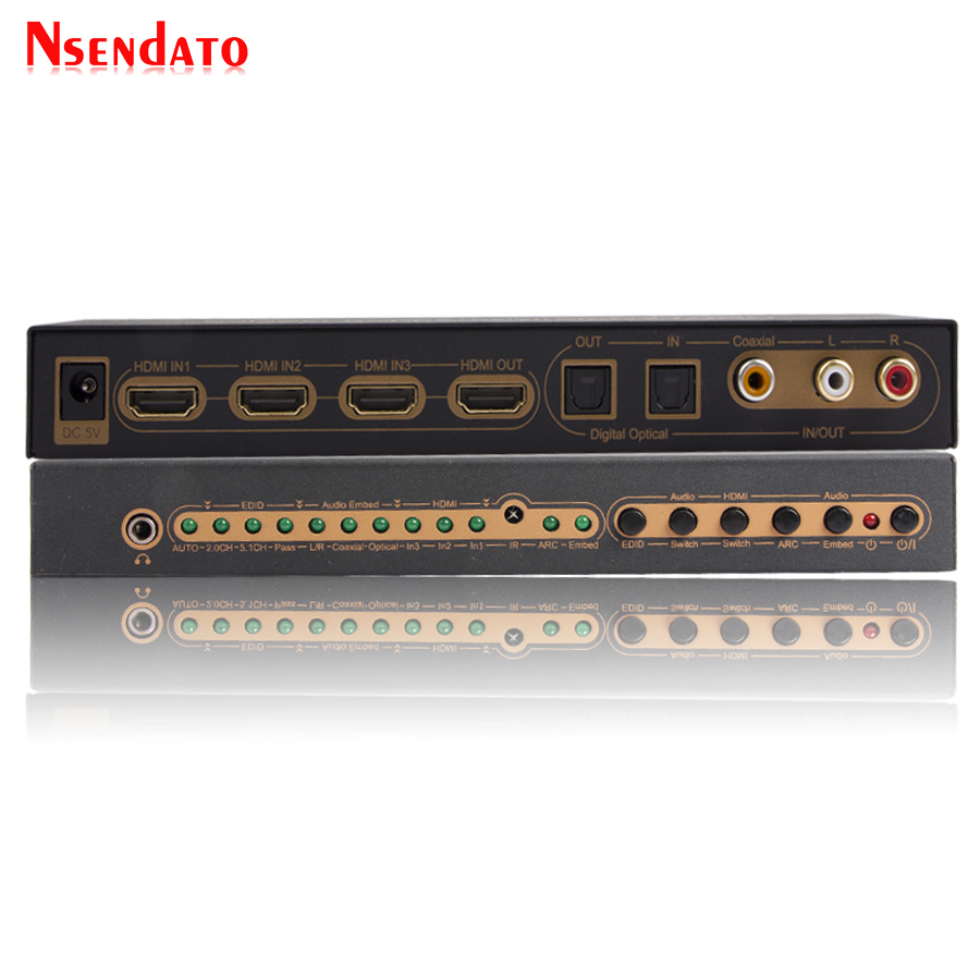 3 in 1 out HDMI Audio Embedded Extractor Switcher Digital Toslink Coaxial Audio HDMI Splitter Support