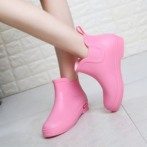 Image 4 - SWYIVY Rainboots Shoes Woman Ankle High 2018 Autumn Female Wellies Water Shoes Flat Pointed Candy Color Rainboots Rubber Boots