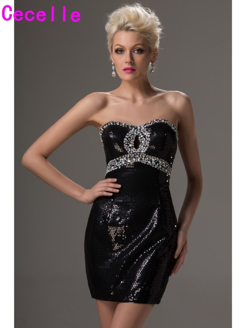 Sparkly Little Black Short Mini Cocktail Dresses Beaded Sweetheart