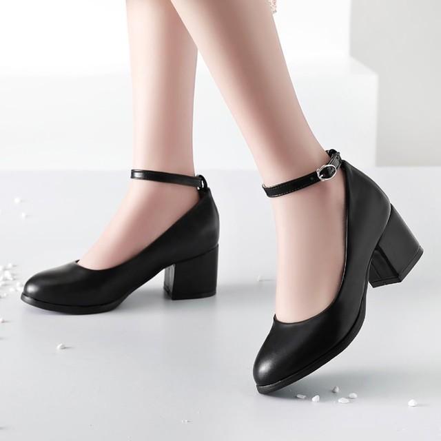 ขนาดใหญ่ขนาด 11 12 13 14 สุภาพสตรีรองเท้าส้นสูงรองเท้าผู้หญิงรองเท้าผู้หญิงปั๊มรอบหัว,ปากตื้น, กลางส้นหนา one word buckle