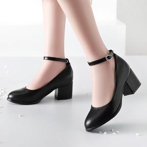 Image 1 - Talla grande 11 12 13 14 señoras tacones altos mujeres zapatos mujer bombas cabeza redonda, boca poco profunda, tacón medio grueso de hebilla de una palabra