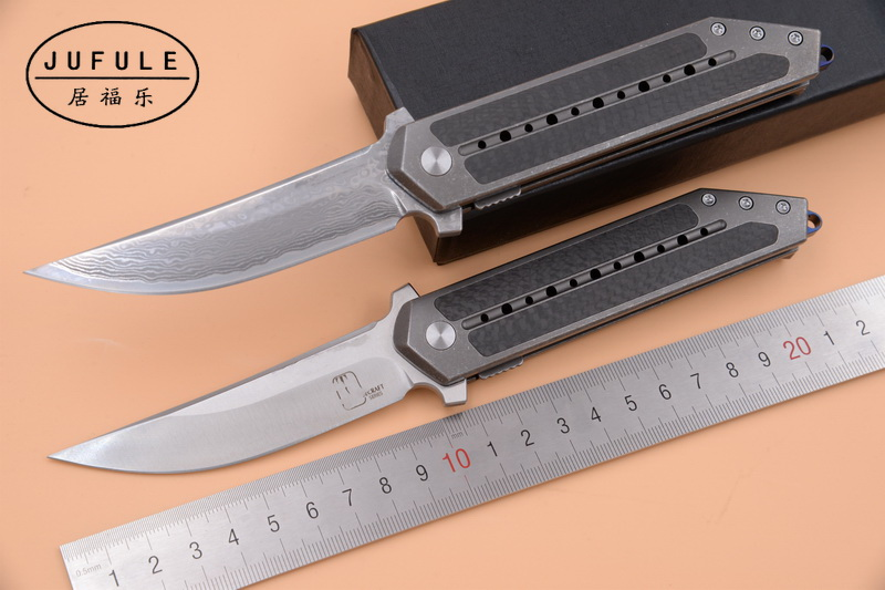 JUFULE New TB Steelcraft S35vn / Vg10 Damascus Titanium + carbon fiber ceramic Ball Bearing camping tool folding kitchen knife-in Knives from Tools    1