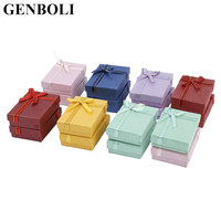 GENBOLI 16 Pcs Pack Mixed Color Ornaments Boxes Packaging Gift Box For Necklace Earrings Organizer Jewelry
