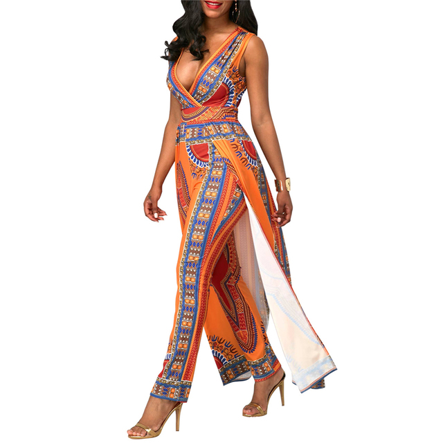 BAIBAZIN African Dresses for Women's Explosion Models Fashion Autumn Positioning Printing Orange Ethnic Pants 2