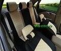 Veeleo + 7 Cores Universal-Car styling Para Volkswagen Polo Jetta Bora Santana Golf-Car covers com 3D Linho & Assento de Carro de Seda cobrir