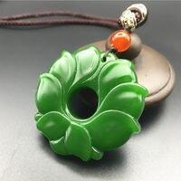 Koraba Fine Jewelry China Beautiful Natural Green Jade Jasper Manual Carving Lotus Pendant Necklace Free Shipping