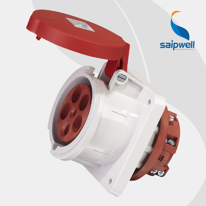 5P 63A CEE/IEC International Standard Panel Mounted Straight  Socket /  Waterproof  Concealed Industrial Socket ( SP-1252)