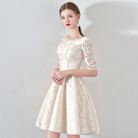 New Champagne Half Sleevelss Cocktail Dress Elegant Embroidery Mini Length Formal Dress Party Gown LF330