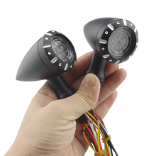 Black / Chrome LED Turn Signals Motorcycle Flasher Signal Lamp Universal Motorbike Indicator Light Brake Running 12v