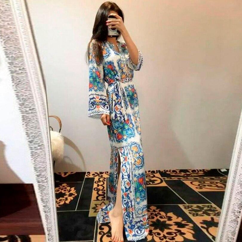 Maxi Lungo Di Il Maniche Alta Del Vintage Xxl Floral Vestito Collare Donne 2019 Allentato Vendita A Pista Borda Modo Qualità Che Lunghe YrnBZ7Y