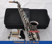 Black Nickel Eb Alto Saxophone High F# Sax Abalone Keys