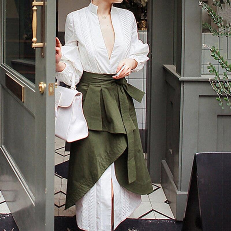 CHICEVER automne deux pièces ensemble femmes costume manches bouffantes chemise blanche avec taille haute irrégulière Midi jupe vêtements mode coréenne - 4
