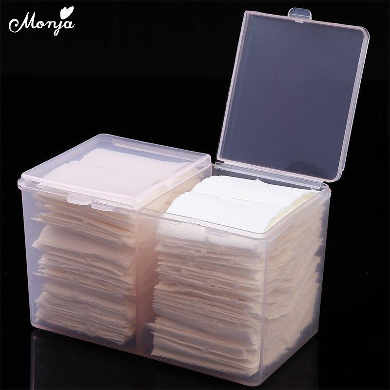 Monja Nail Art plastique transparent organisateur conteneur Gel vernis dissolvant nettoyage coton tampon écouvillon boîte mallette de rangement accessoires outil