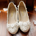women's white wedding shoes female lady flat married bridal rhinestone lace flower shoes sy-478