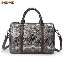 PNDME fashion vintage handmade embossed genuine leather ladies handbag luxury designer cowhide womens shoulder messenger bags