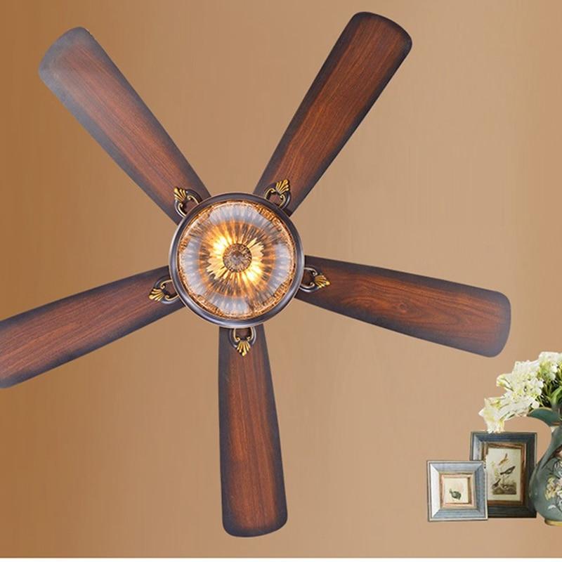 Lukloy Restaurant Ceiling Fan Pendant Light Living Room American Retro Remote Control Antique Wood Leaf Lamp