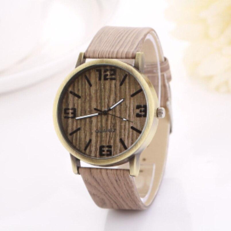 Excellent Quality Top Luxury Womens Watches Vintage Wood Grain Watches Fashion Women Quartz Watch Wristwatch for Gift