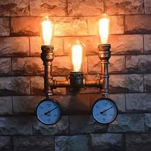 Coquimbo E26/E27 Indoor Wall Lamp Retro Loft Style Industrial Water Pipe Iron Vintage 3 Head Wall Sconce For Living Room(China)