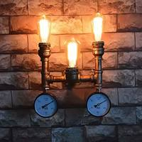 Coquimbo E26 E27 Indoor Wall Lamp Retro Loft Style Industrial Water Pipe Iron Vintage 3 Head