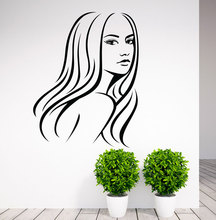 Removable Girl Hair Beauty Salon Decor Wall Decal Home Decoration Bedroom Paper Sticker DIY WY-10