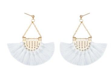 Этнический стиль Модные веерообразные серьги с кисточками в богемном стиле серьги ювелирные изделия - Цвет: Белый