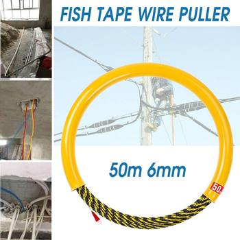 Professional 50M 6mm Cable Push Puller Rodder Conduit Snake Fish Tape 700KG Fiberglass Cable Tested Wire Pullers Guide Device